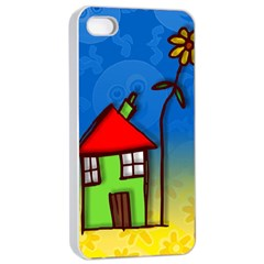 Colorful Illustration Of A Doodle House Apple Iphone 4/4s Seamless Case (white)