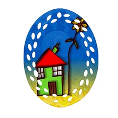 Colorful Illustration Of A Doodle House Oval Filigree Ornament (two Sides)