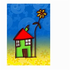 Colorful Illustration Of A Doodle House Large Garden Flag (Two Sides)