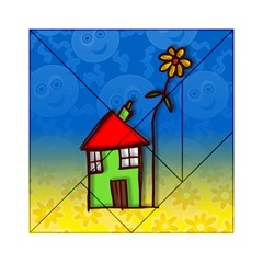 Colorful Illustration Of A Doodle House Acrylic Tangram Puzzle (6  x 6 )