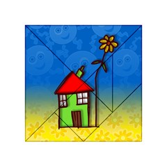 Colorful Illustration Of A Doodle House Acrylic Tangram Puzzle (4  x 4 )