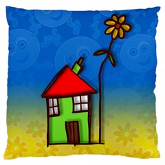 Colorful Illustration Of A Doodle House Large Cushion Case (two Sides)