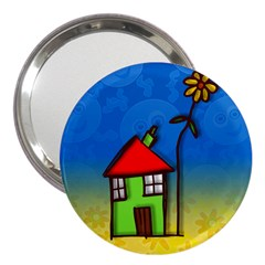 Colorful Illustration Of A Doodle House 3  Handbag Mirrors