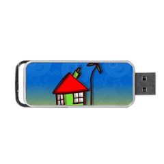 Colorful Illustration Of A Doodle House Portable USB Flash (Two Sides)