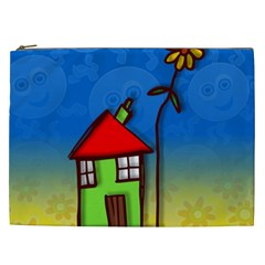 Colorful Illustration Of A Doodle House Cosmetic Bag (xxl)