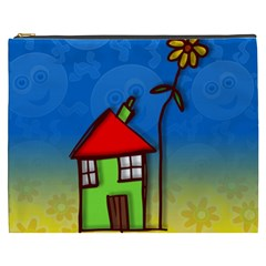 Colorful Illustration Of A Doodle House Cosmetic Bag (XXXL)