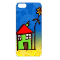 Colorful Illustration Of A Doodle House Apple iPhone 5 Seamless Case (White)