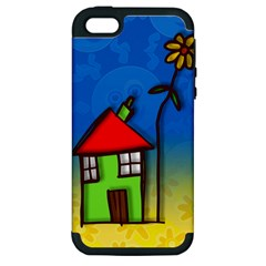 Colorful Illustration Of A Doodle House Apple iPhone 5 Hardshell Case (PC+Silicone)