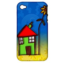 Colorful Illustration Of A Doodle House Apple Iphone 4/4s Hardshell Case (pc+silicone)