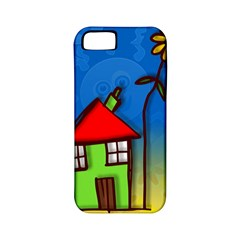 Colorful Illustration Of A Doodle House Apple iPhone 5 Classic Hardshell Case (PC+Silicone)
