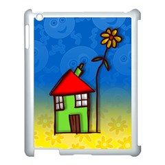 Colorful Illustration Of A Doodle House Apple iPad 3/4 Case (White)