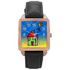 Colorful Illustration Of A Doodle House Rose Gold Leather Watch