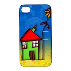 Colorful Illustration Of A Doodle House Apple iPhone 4/4S Hardshell Case with Stand