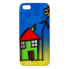 Colorful Illustration Of A Doodle House Apple Iphone 5 Premium Hardshell Case