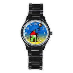 Colorful Illustration Of A Doodle House Stainless Steel Round Watch