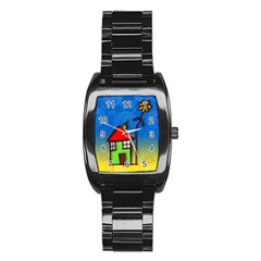 Colorful Illustration Of A Doodle House Stainless Steel Barrel Watch