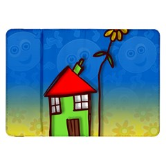 Colorful Illustration Of A Doodle House Samsung Galaxy Tab 8 9  P7300 Flip Case
