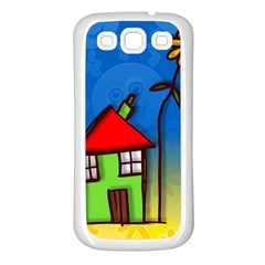 Colorful Illustration Of A Doodle House Samsung Galaxy S3 Back Case (White)