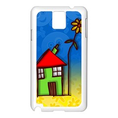 Colorful Illustration Of A Doodle House Samsung Galaxy Note 3 N9005 Case (white)