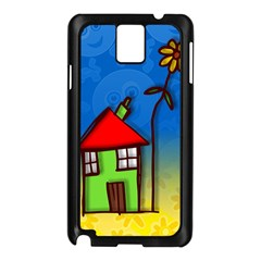 Colorful Illustration Of A Doodle House Samsung Galaxy Note 3 N9005 Case (Black)
