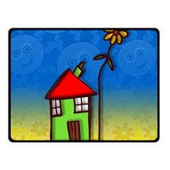 Colorful Illustration Of A Doodle House Double Sided Fleece Blanket (small)