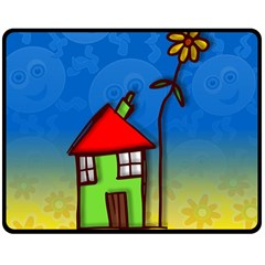 Colorful Illustration Of A Doodle House Double Sided Fleece Blanket (medium)
