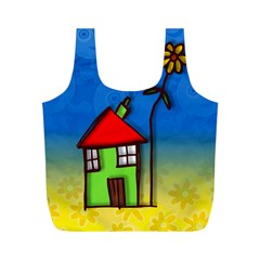 Colorful Illustration Of A Doodle House Full Print Recycle Bags (M)