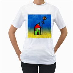 Colorful Illustration Of A Doodle House Women s T-Shirt (White)