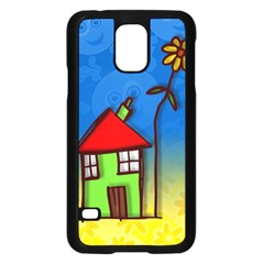 Colorful Illustration Of A Doodle House Samsung Galaxy S5 Case (black)