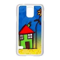 Colorful Illustration Of A Doodle House Samsung Galaxy S5 Case (white)
