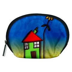 Colorful Illustration Of A Doodle House Accessory Pouches (Medium)