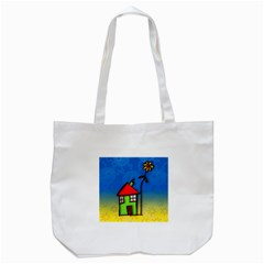 Colorful Illustration Of A Doodle House Tote Bag (White)