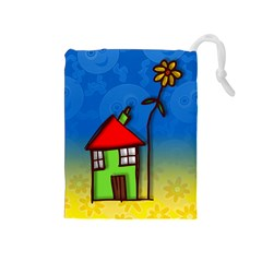 Colorful Illustration Of A Doodle House Drawstring Pouches (Medium)