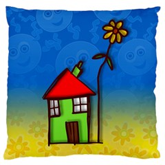 Colorful Illustration Of A Doodle House Large Flano Cushion Case (One Side)