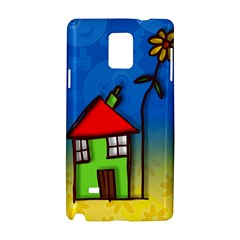 Colorful Illustration Of A Doodle House Samsung Galaxy Note 4 Hardshell Case