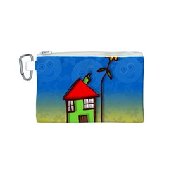 Colorful Illustration Of A Doodle House Canvas Cosmetic Bag (S)