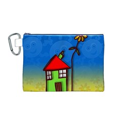 Colorful Illustration Of A Doodle House Canvas Cosmetic Bag (M)