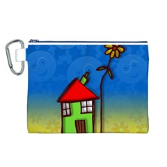 Colorful Illustration Of A Doodle House Canvas Cosmetic Bag (l)