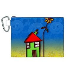 Colorful Illustration Of A Doodle House Canvas Cosmetic Bag (XL)