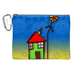 Colorful Illustration Of A Doodle House Canvas Cosmetic Bag (XXL)