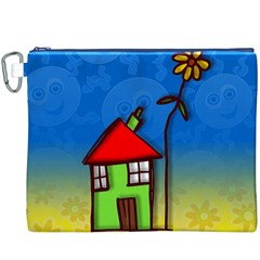 Colorful Illustration Of A Doodle House Canvas Cosmetic Bag (xxxl)