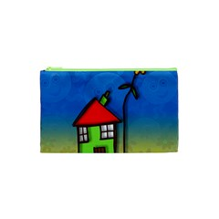 Colorful Illustration Of A Doodle House Cosmetic Bag (xs)