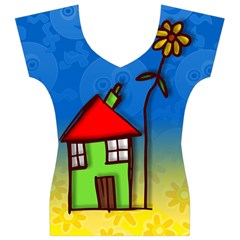 Colorful Illustration Of A Doodle House Women s V-Neck Cap Sleeve Top