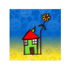Colorful Illustration Of A Doodle House Small Satin Scarf (square)