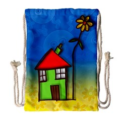 Colorful Illustration Of A Doodle House Drawstring Bag (Large)