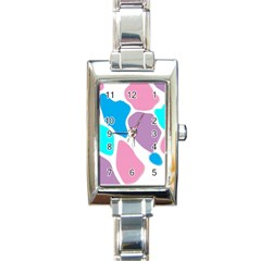 Baby Pink Girl Party Pattern Colorful Background Art Digital Rectangle Italian Charm Watch