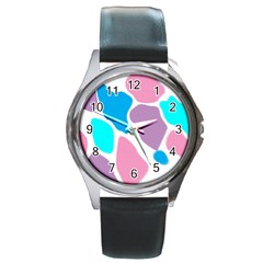 Baby Pink Girl Party Pattern Colorful Background Art Digital Round Metal Watch