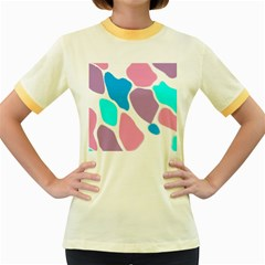 Baby Pink Girl Party Pattern Colorful Background Art Digital Women s Fitted Ringer T-Shirts