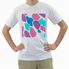 Baby Pink Girl Party Pattern Colorful Background Art Digital Men s T-Shirt (White) (Two Sided)