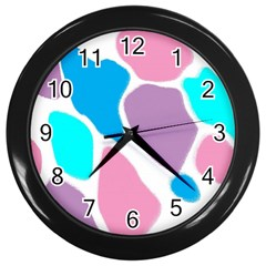 Baby Pink Girl Party Pattern Colorful Background Art Digital Wall Clocks (black)
